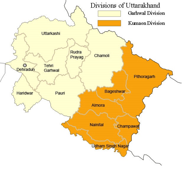 Cities of Uttrakhand- State is divided in Kumaon and Garhwal Region