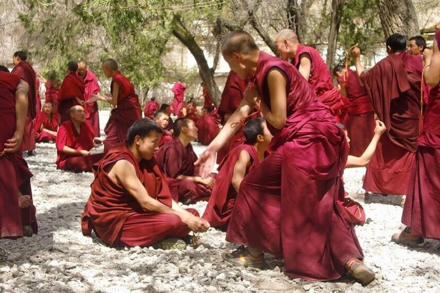 Monks debating at a Monastery in Tibet