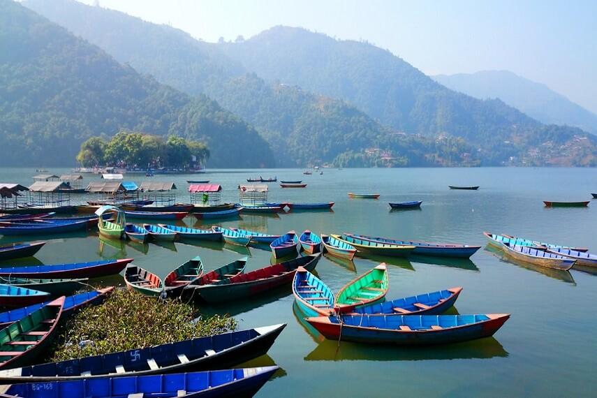 Boats at Lake Phewa in Pokhra