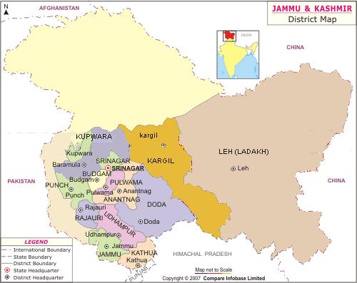 Map of Ladakh, Jammu & Kashmir